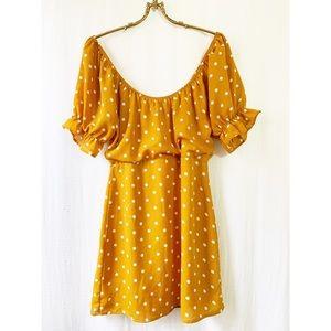 Yellow polka dot balloon sleeve mini dress